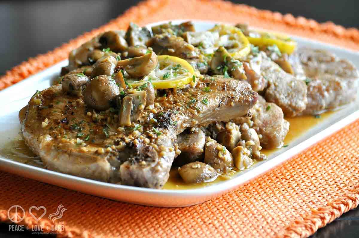 Lemon Garlic Mushroom Pork Steak