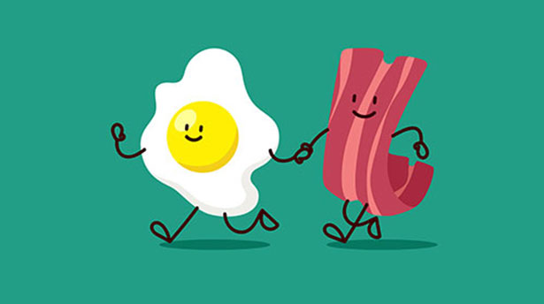 Bacon and eggs - a great low-carb breakfast combination.