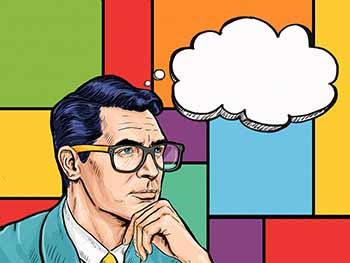 A Man Considering Something Deeply. Cartoon Image.