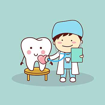 A Cartoon Image of a Dentish and a Smiling Tooth.