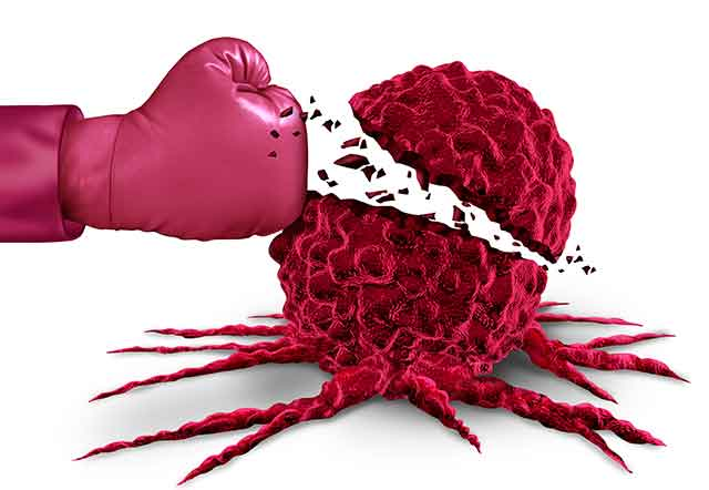 Boxing Glove Punching a Cancer Cell (Fighting Cancer Theme).