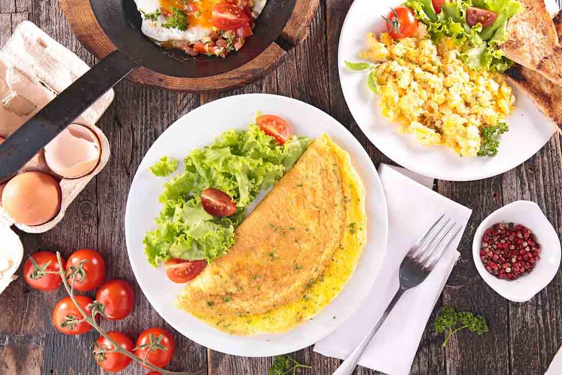 Various Egg Dishes - Omelet, Scrambled Egg, Boiled Eggs.
