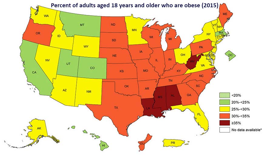 United States Obesity Prevalence By State (2015).