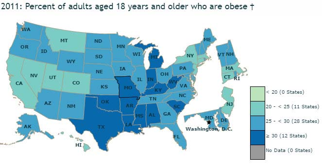 United States Obesity Prevalence By State (2011).