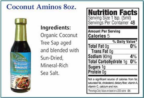 Coconut Aminos: Nutrition Facts.