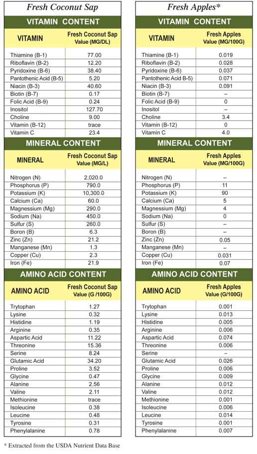 The Nutrient Profile of Fresh Coconut Sap vs Fresh Apples.