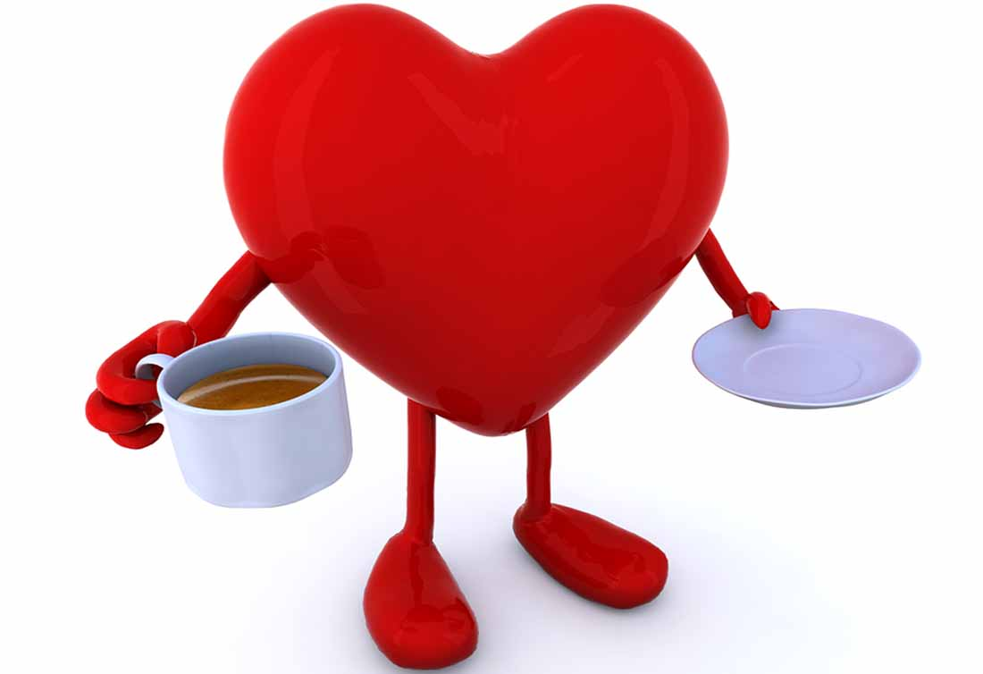 A Cartoon Heart Holding a Cup of Coffee.