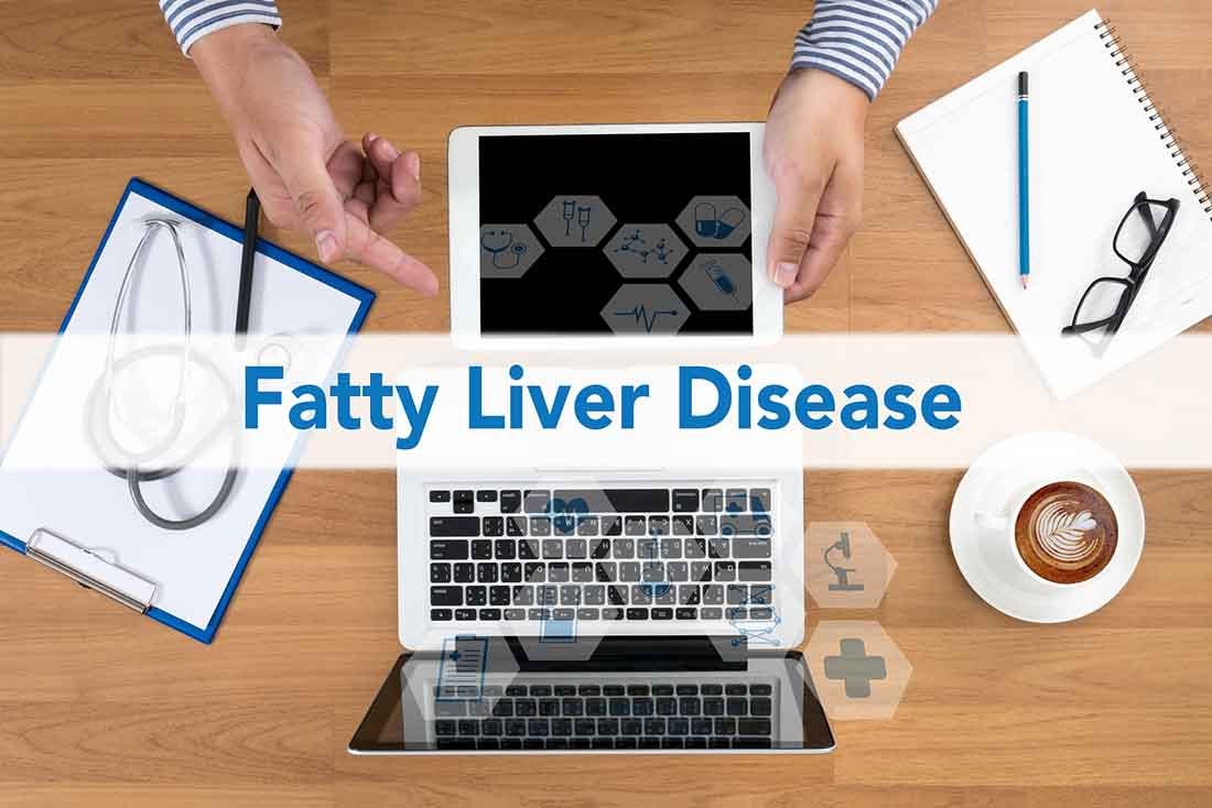 A Medical Picture With the Words 'Fatty Liver Disease'.