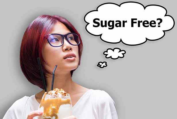 """A Woman With a Caramel Milkshake and a Thought Bubble Saying """"Sugar Free?"""""""