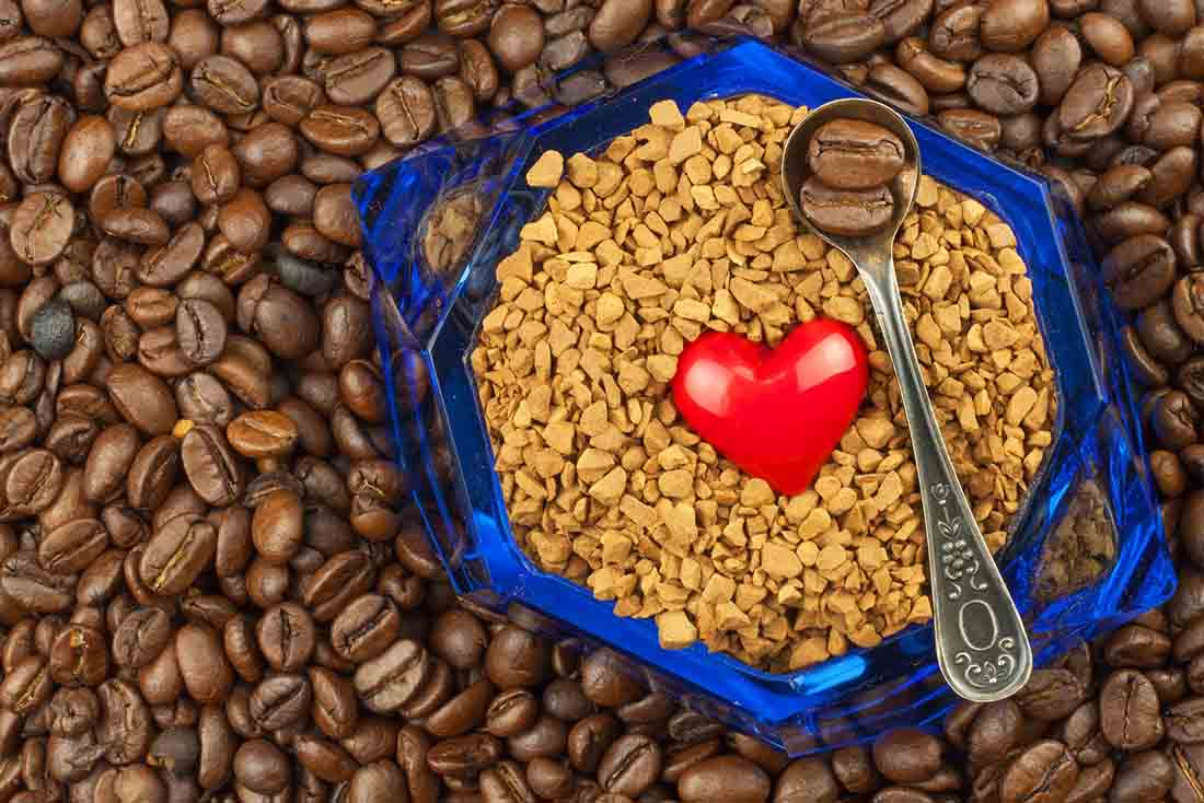 Coffee Beans and a Heart Shape Symbol.