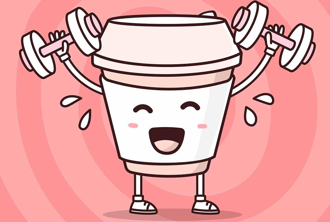 A Cartoon Paper Coffee Cup Lifting Dumbbells.