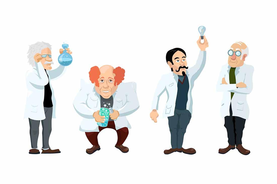 Various Cartoon Scientists.