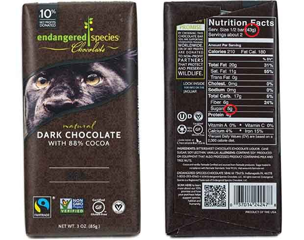 Endangered Species 88% Dark Chocolate Bar and Nutrition Facts.