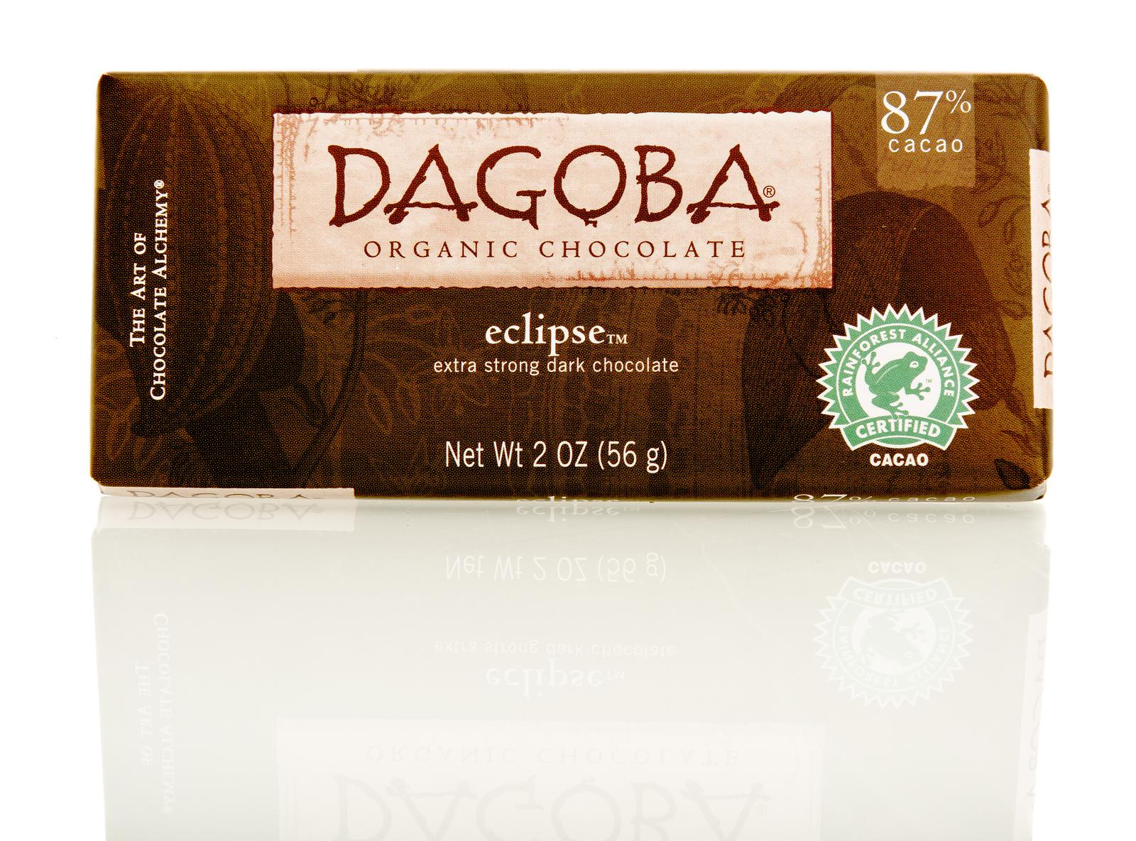 Dagoba Eclipse 87% Extra Strong Dark Chocolate Bar in Wrapper.