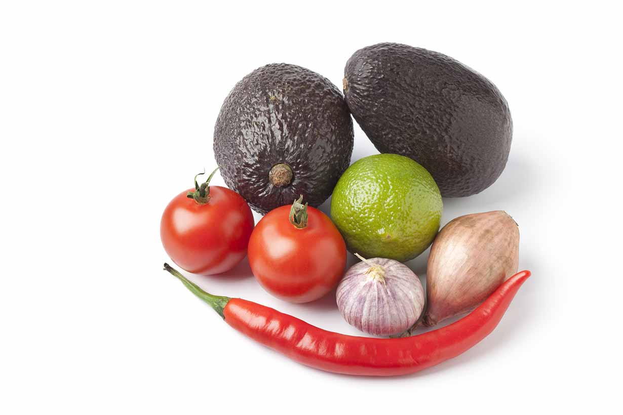 Picture of the ingredients for how to make guacamole