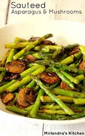 Picture of sauteed mushrooms and asparagus.
