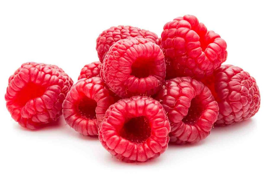 A picture of fresh raspberries.
