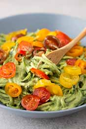 Zoodles With Avocado Sauce.