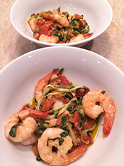 A zoodles recipe featuring garlic shrimp.