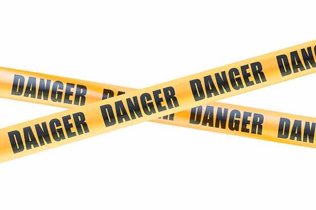 """Yellow Tape Saying """"Danger""""."""