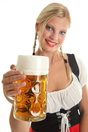 A Lady Holding a Pint of Beer.
