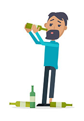 A Cartoon Illustration of a Man Drinking Lots of Alcohol.