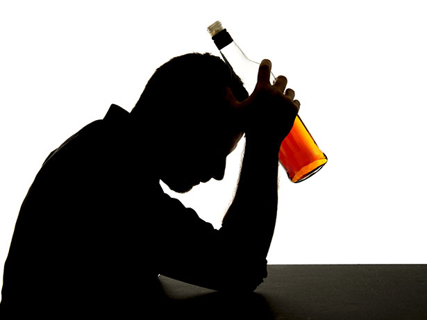 A Depressed Man Drinking Alcohol.