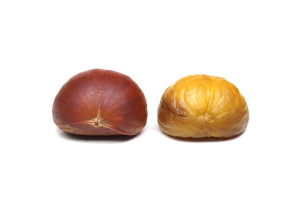 Picture of Two Chestnuts - Shelled and Unshelled.