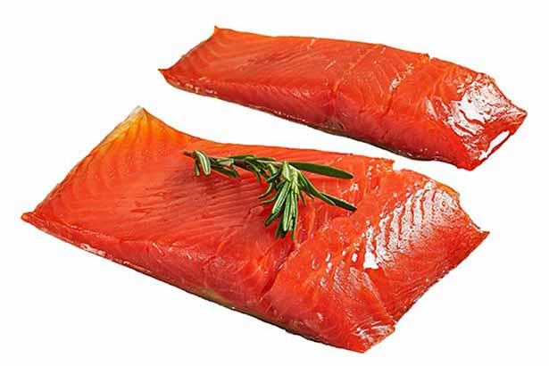 Two Fillets of Wild Alaskan Sockeye Salmon.