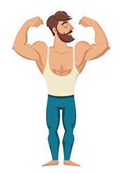 Picture of a muscly cartoon character - Steak is Good For Building Muscle