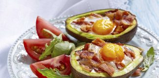 Keto Side Dishes - Avocado With Bacon and Eggs