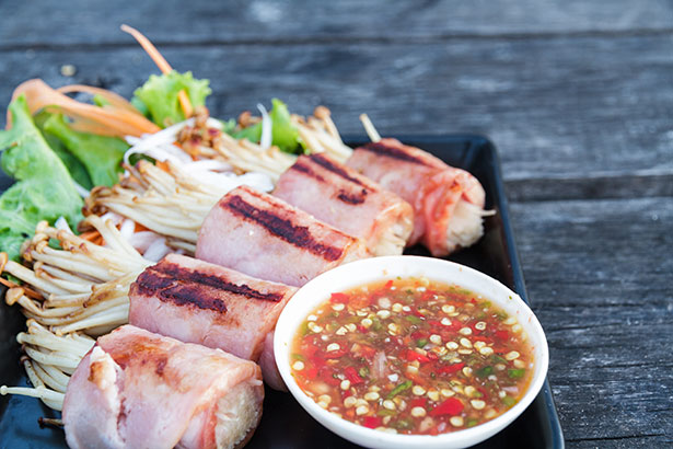 Picture of Bacon-Wrapped Enoki Mushrooms.