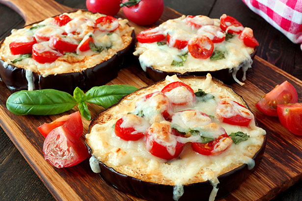 Picture of Eggplant Slices With Tomato and Parmesan.