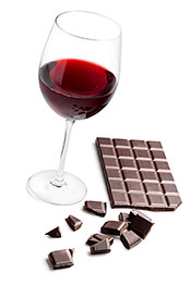 Picture of dark chocolate and red wine.
