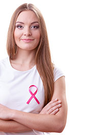 Picture of a Girl Wearing a Ribbon to Support the Fight Against Cancer.
