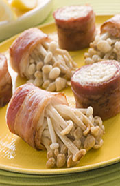 Picture of Enoki Mushrooms Wrapped in Bacon