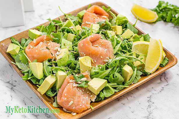Picture of a Keto Salad Containing Salmon and Avocado.