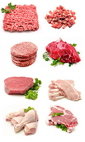 Picture Showing Different Cuts and Types of Meat.