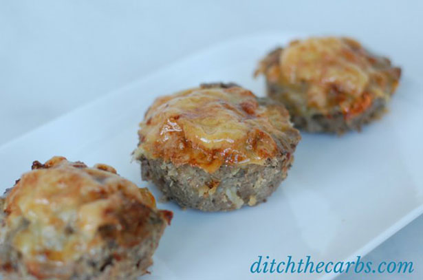 Picture of some low carb meatloaf cupcakes.