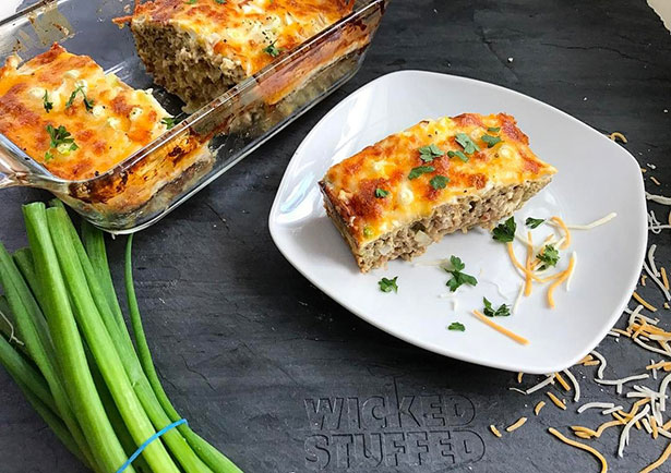 Picture of a cheesy meatloaf.