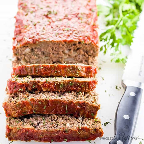 Picture of a paleo low carb meatloaf cut into slices.