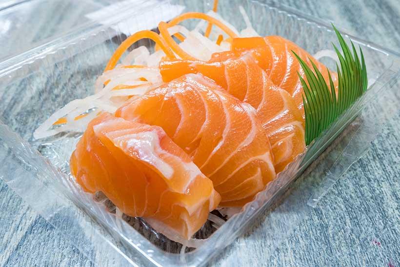 Picture of pieces of salmon sashimi.
