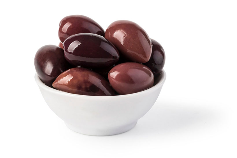 Picture of Kalamata Olives in a White Bowl.