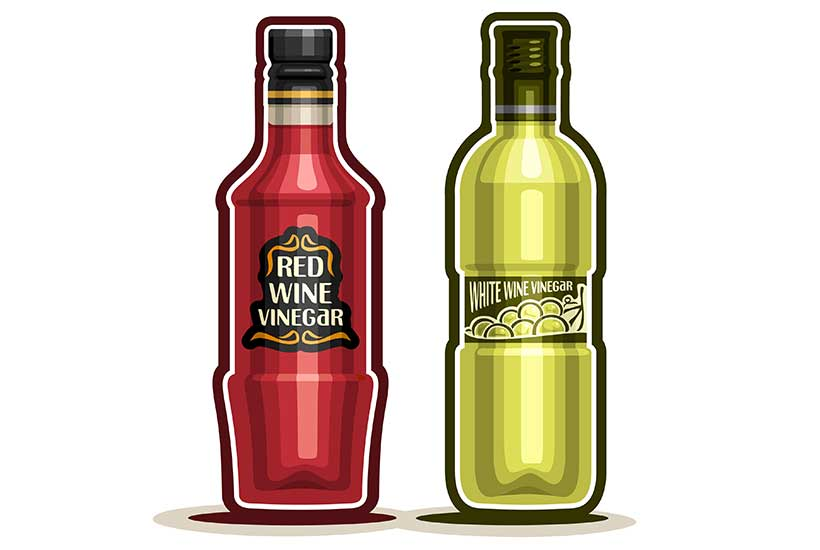 Picture of a bottle of red wine vinegar and One Bottle of White Wine Vinegar