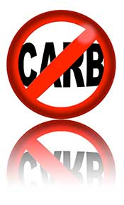 Picture of a 'no carb' sign symbolizing carbohydrate restriction.