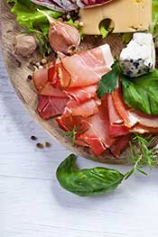 Salami, Prosciutto and Cheese on a Plate