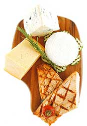 A Platter of Protein Foods: Cheese and Salmon.