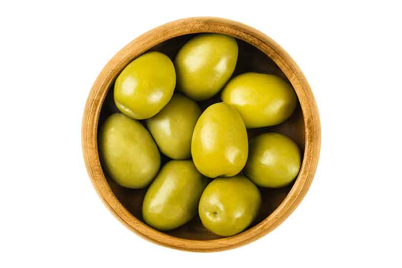 Picture of Large Spanish Gordal Olives in a Bowl.