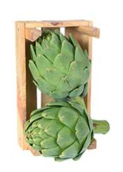 Artichoke Heads in a Wooden Container.