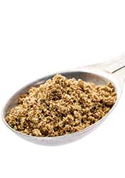 Fllaxseed Meal in a Serving Size Scoop Spoon.